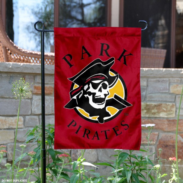 Park University Pirates Logo Garden Flag is 13x18 inches in size, is made of 2-layer polyester with liner, screen printed athletic logos and lettering. Available with Same Day Overnight Express Shipping, Our Park University Pirates Logo Garden Flag is officially licensed and approved by the university, college and the NCAA.