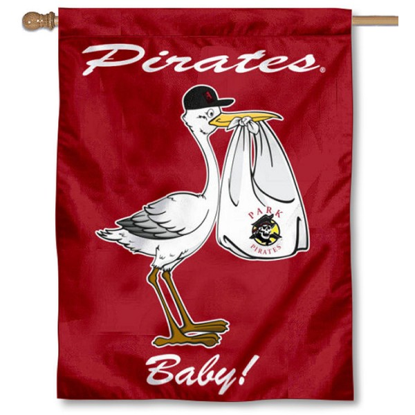 Park University Pirates New Baby Flag measures 30x40 inches, is made of poly, has a top hanging sleeve, and offers dye sublimated Park University Pirates logos. This Decorative Park University Pirates New Baby House Flag is officially licensed by the NCAA.