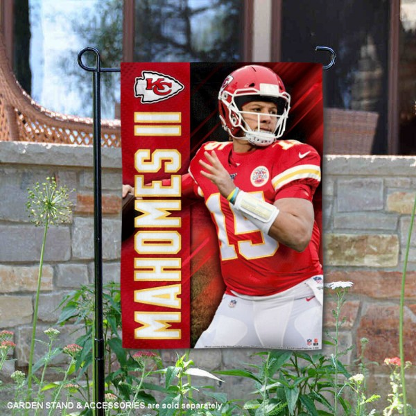 Patrick Mahomes Garden Flag is 12x18 inches in size, is made of thick 1-ply 300D triple spun polyester, and has two sided screen printed logos and lettering. Available with Express Next Day Ship, our Patrick Mahomes Garden Flag is NFLPA Officially Licensed and is double sided.