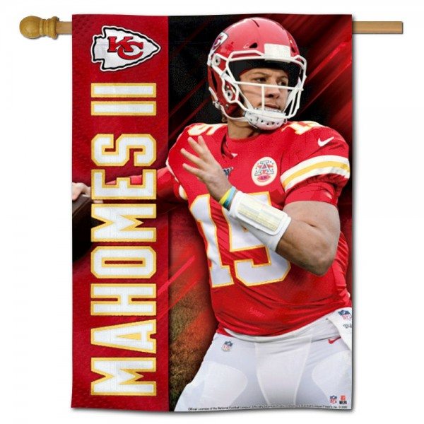 "These House Flags for Patrick Mahomes are 28""x40"" in size, have current NFL Team Logo Designs, made of polyester, and Same Day Shipped with Overnight Express Delivery. This Patrick Mahomes II Banner House Flag provides a top pole sleeve and is NFL Officially Licensed."