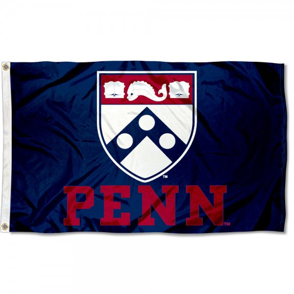 This Penn Flag measures 3'x5', is made of 100% nylon, has quad-stitched sewn flyends, and has two-sided Penn printed logos. Our Penn Flag is officially licensed and all flags for Penn are approved by the NCAA and Same Day UPS Express Shipping is available.