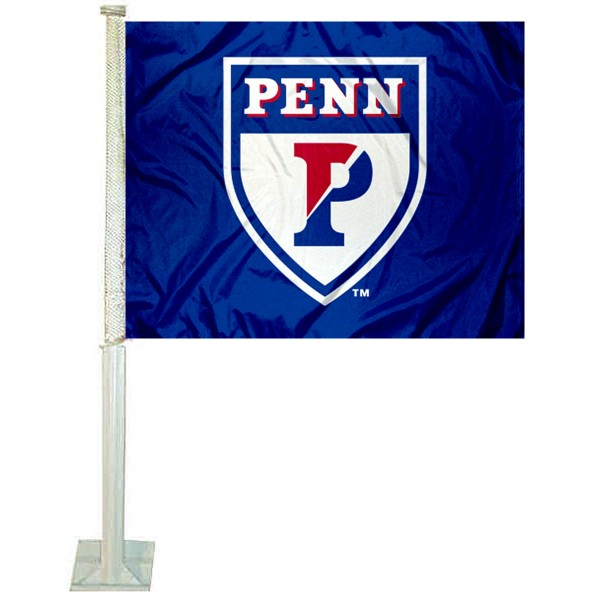 Penn Quakers Car Window Flag measures 12x15 inches, is constructed of sturdy 2 ply polyester, and has screen printed school logos which are readable and viewable correctly on both sides. Penn Quakers Car Window Flag is officially licensed by the NCAA and selected university.