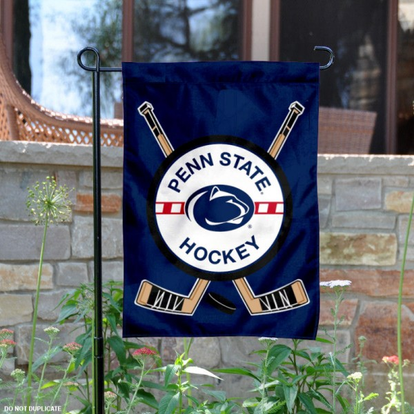 Penn State Hockey Yard Flag is 13x18 inches in size, is made of 2-layer polyester, screen printed PSU Nittany Lion Hockey athletic logos and lettering. Available with Same Day Express Shipping, Our Penn State Hockey Yard Flag is officially licensed and approved by PSU Nittany Lion Hockey and the NCAA.