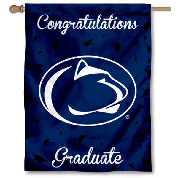 Penn State Nittany Lions Congratulations Graduate Flag measures 30x40 inches, is made of poly, has a top hanging sleeve, and offers dye sublimated Penn State Nittany Lions logos. This Decorative Penn State Nittany Lions Congratulations Graduate House Flag is officially licensed by the NCAA.