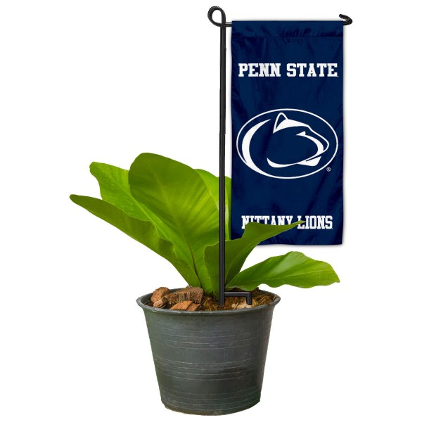 "Penn State Nittany Lions Flower Pot Topper Flag kit includes our 4""x8"" mini garden banner and 6"" x 14"" mini garden banner stand. The mini flag is made of 1-ply polyester, has screen printed logos and the garden stand is made of steel and powder coated black. This kit is NCAA Officially Licensed by the selected college or university."