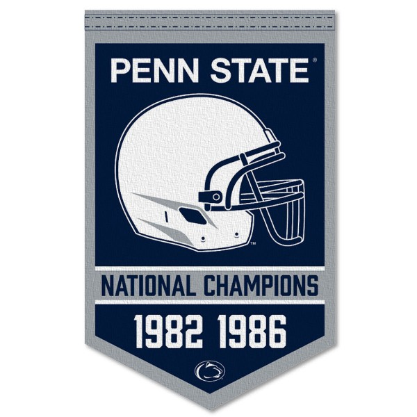 Penn State Nittany Lions Football National Champions Banner consists of our sports dynasty year banner which measures 15x24 inches, is constructed of rigid felt, is single sided imprinted, and offers a pennant sleeve for insertion of a pennant stick, if desired. This sports banner is a unique collectible and keepsake of the legacy game and is Officially Licensed and University, School, and College Approved.