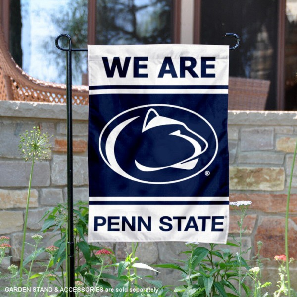 Penn State Nittany Lions Garden Flag is 13x18 inches in size, is made of 2-layer polyester, screen printed logos and lettering. Available with Same Day Express Shipping, Our Penn State Nittany Lions Garden Flag is officially licensed and approved by the NCAA.