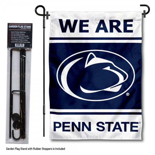 "Penn State Nittany Lions Garden Flag and Stand kit includes our 13""x18"" garden banner which is made of 2 ply poly with liner and has screen printed licensed logos. Also, a 40""x17"" inch garden flag stand is included so your Penn State Nittany Lions Garden Flag and Stand is ready to be displayed with no tools needed for setup. Fast Overnight Shipping is offered and the flag is Officially Licensed and Approved by the selected team."