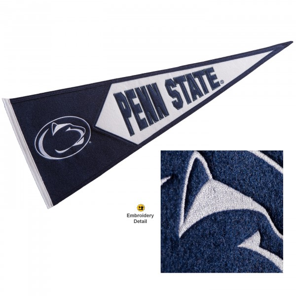 Penn State Nittany Lions Genuine Wool Pennant consists of our full size 13x32 inch Winning Streak Sports wool college pennant. The logos, lettering and insignia is quality embroidered and appliqued, feature a alternate logo color header, and has sewn wool perimeter. This Penn State Nittany Lions College Pennant Pennant is Officially Licensed and University Approved with Overnight Next Day Shipping.