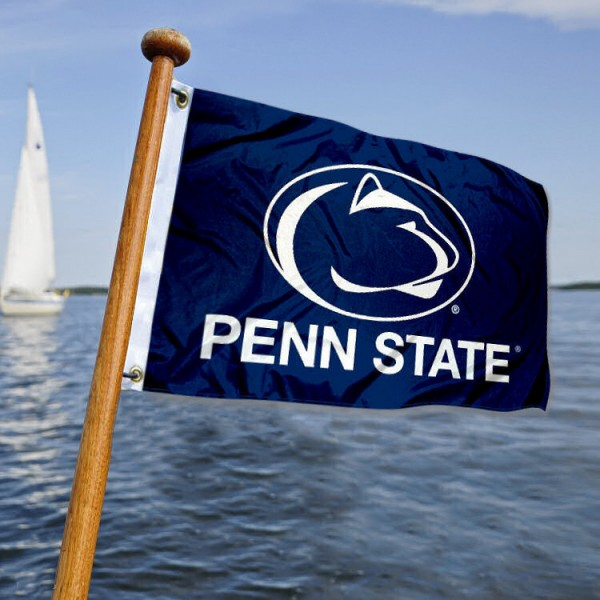 Penn State Nittany Lions Nautical Flag measures 12x18 inches, is made of two-ply polyesters, offers quadruple stitched flyends for durability, has two metal grommets, and is viewable from both sides. Our Penn State Nittany Lions Nautical Flag is officially licensed by the selected university and the NCAA and can be used as a motorcycle flag, golf cart flag, or ATV flag