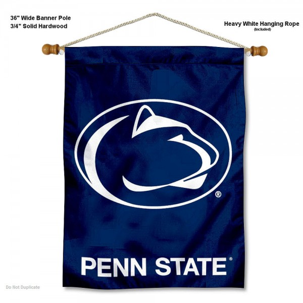 "Penn State Nittany Lions Wall Banner is constructed of polyester material, measures a large 30""x40"", offers screen printed athletic logos, and includes a sturdy 3/4"" diameter and 36"" wide banner pole and hanging cord. Our Penn State Nittany Lions Wall Banner is Officially Licensed by the selected college and NCAA."
