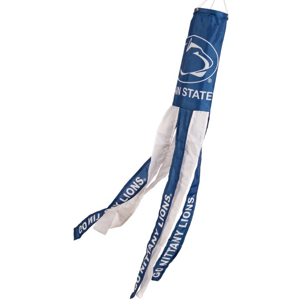 "Penn State Nittany Lions Windsock measures 40"" in length by 5"" in width, is made of 100% polyester, offers screen printed NCAA team logos, team names and insignias, has 6 alternative colored streamers and tails, includes a double stringed bridle and hanging swivel clip, and our Penn State Nittany Lions Windsock is authentic, licensed, and approved by the selected university or team."