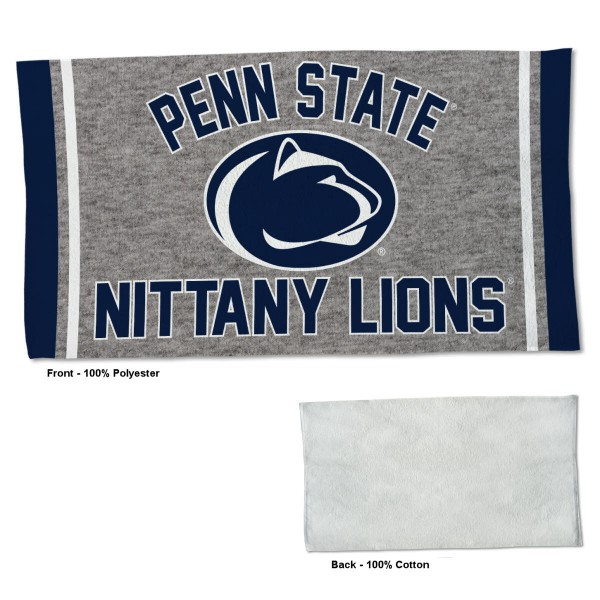 Penn State Nittany Lions Workout Exercise Towel measures 22x42 inches, is made of 100% Polyester on the front and 100% Cotton on the back, has double stitched sewing perimeter, and Graphics and Logos, as shown. Our Penn State Nittany Lions Workout Exercise Towel is officially licensed by the selected university and the NCAA. Also, machine washable and dryer safe.