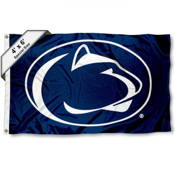 Penn State University 4x6 Flag measures 4x6 feet, is made thick woven polyester, has quadruple stitched flyends, two metal grommets, and offers screen printed NCAA Penn State University athletic logos and insignias. Our Penn State University 4x6 Flag is officially licensed by Penn State University and the NCAA.