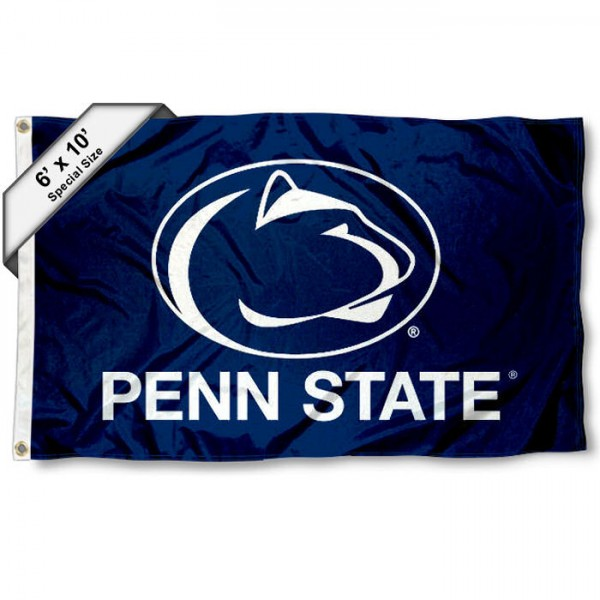 Penn State University 6'x10' Flag measures 6x10 feet, is made of thick poly, has quadruple-stitched fly ends, and Penn State University logos are screen printed into the Penn State University 6'x10' Flag. This Penn State University 6'x10' Flag is officially licensed by and the NCAA.
