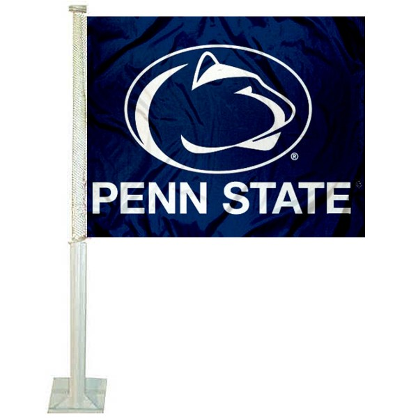 Penn State University Car Window Flag measures 12x15 inches, is constructed of sturdy 2 ply polyester, and has screen printed school logos which are readable and viewable correctly on both sides. Penn State University Car Window Flag is officially licensed by the NCAA and selected university.