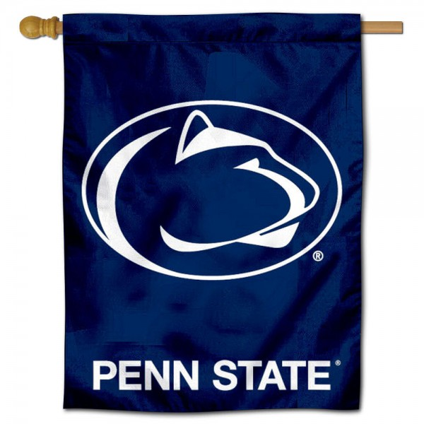 "Penn State University Decorative Flag is constructed of polyester material, is a vertical house flag, measures 30""x40"", offers screen printed athletic insignias, and has a top pole sleeve to hang vertically. Our Penn State University Decorative Flag is Officially Licensed by Penn State University and NCAA."