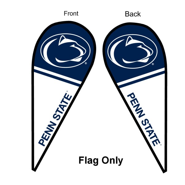 Penn State University Feather Flag is 9 feet by 3 feet and is a tall 10' when fully assembled. The feather flag is made of thick polyester and is readable and viewable on both sides. The screen printed Penn State Nittany Lions double sided logos are NCAA Officially Licensed and is Team and University approved.