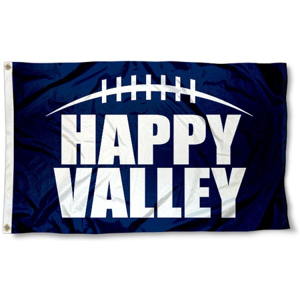 Penn State University Happy Valley Flag measures 3'x5', is made of 100% poly, has quadruple stitched sewing, two metal grommets, and has double sided Penn State University logos. Our Penn State University Happy Valley Flag is officially licensed by the selected university and the NCAA