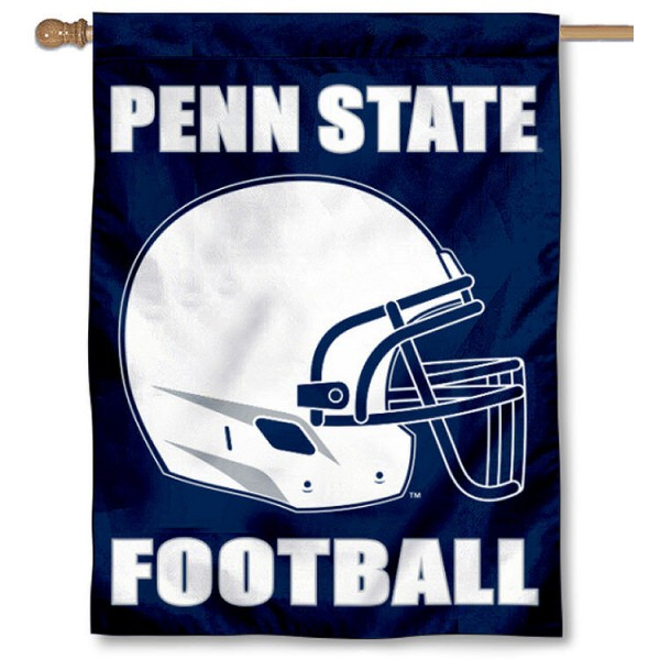 Penn State University Helmet House Flag is a vertical house flag which measures 30x40 inches, is made of 2 ply 100% polyester, offers dye sublimated NCAA team insignias, and has a top pole sleeve to hang vertically. Our Penn State University Helmet House Flag is officially licensed by the selected university and the NCAA