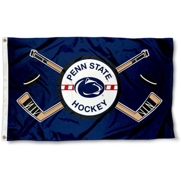 Penn State University Hockey Flag measures 3'x5', is made of 100% poly, has quadruple stitched sewing, two metal grommets, and has double sided Penn State University logos. Our Penn State University Hockey Flag is officially licensed by the selected university and the NCAA