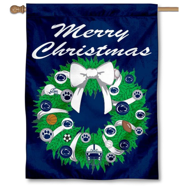 Penn State University Holiday Flag is a decorative house flag, 30x40 inches, made of 100% polyester, Holiday NCAA team insignias, and has a top pole sleeve to hang vertically. Our Penn State University Holiday Flag is officially licensed by the selected university and the NCAA.