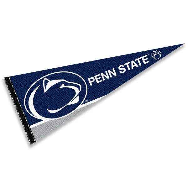 Penn State University Pennant consists of our full size sports pennant which measures 12x30 inches, is constructed of felt, is single sided imprinted, and offers a pennant sleeve for insertion of a pennant stick, if desired. This PSU Nittany Lions Pennant Decorations is Officially Licensed by the selected university and the NCAA.