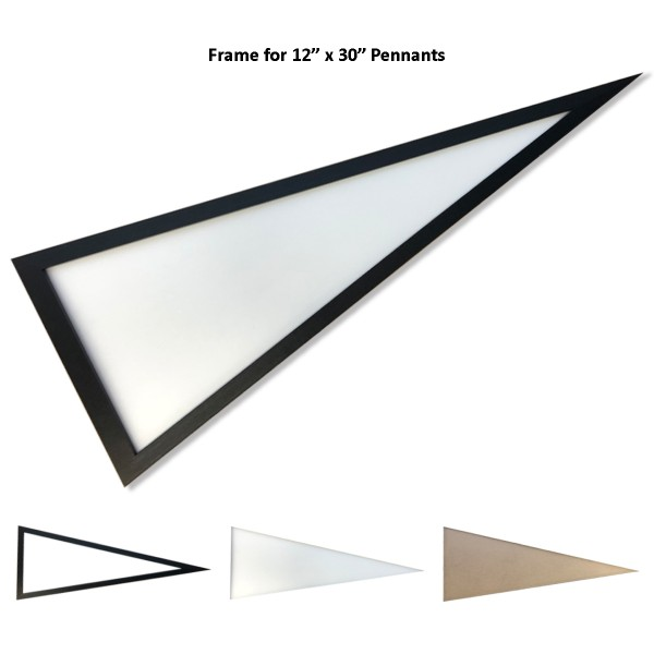 "Pennant Frame for Standard-Size Pennants is made of black stain Pine wood, has outside dimensions of 13.75"" (Height) x 34"" (Width), has 1/16 inch plexiglass cover, and fits sports pennants 12""x30"" in size."