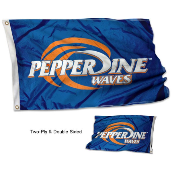 Pepperdine University Flag measures 3'x5', is made of 2 layer 100% polyester, has quadruple stitched flyends for durability, and is readable correctly on both sides. Our Pepperdine University Flag is officially licensed by the university, school, and the NCAA