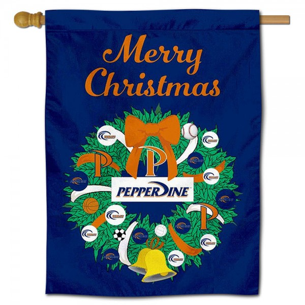 Pepperdine Waves Happy Holidays Banner Flag measures 30x40 inches, is made of poly, has a top hanging sleeve, and offers dye sublimated Pepperdine Waves logos. This Decorative Pepperdine Waves Happy Holidays Banner Flag is officially licensed by the NCAA.
