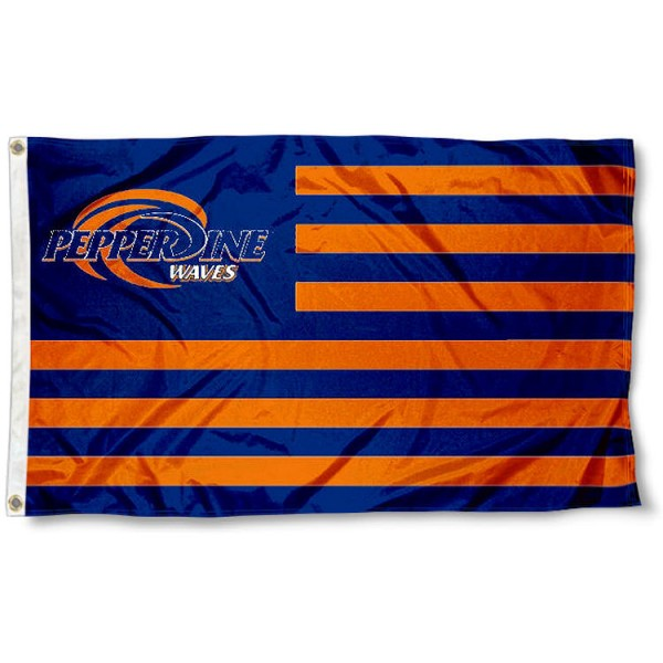 Pepperdine Waves Stripes Flag measures 3'x5', is made of polyester, offers double stitched flyends for durability, has two metal grommets, and is viewable from both sides with a reverse image on the opposite side. Our Pepperdine Waves Stripes Flag is officially licensed by the selected school university and the NCAA.