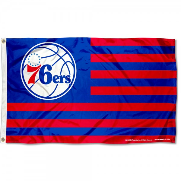 Philadelphia 76ers Americana Stripes Nation Flag measures 3x5 feet, is made of polyester, offers quad-stitched flyends, has two metal grommets, and is viewable from both sides with a reverse image on the opposite side. Our Philadelphia 76ers Americana Stripes Nation Flag is Genuine NBA Merchandise.