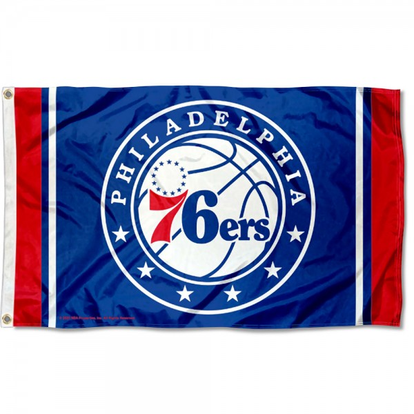 The Philadelphia 76ers Circle Logo 3x5 Flag is four-stitched bordered, double sided, made of poly, 3'x5', and has two grommets. These Philadelphia 76ers Circle Logo 3x5 Flags are NBA Genuine Merchandise.