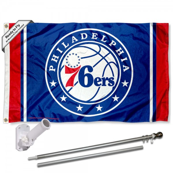 Our Philadelphia 76ers Flag Pole and Bracket Kit includes the flag as shown and the recommended flagpole and flag bracket. The flag is made of polyester, has quad-stitched flyends, and the NBA Licensed team logos are double sided screen printed. The flagpole and bracket are made of rust proof aluminum and includes all hardware so this kit is ready to install and fly.