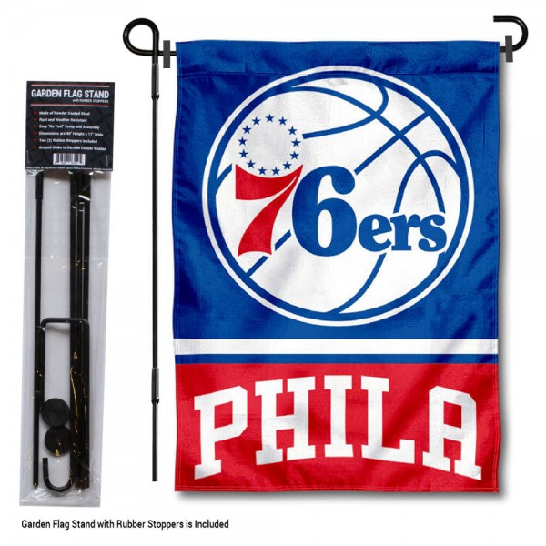 Philadelphia 76ers Garden Flag and Stand