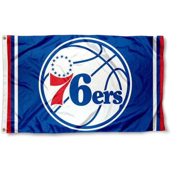 The Philadelphia 76ers NBA Logo Flag is four-stitched bordered, double sided, made of poly, 3'x5', and has two grommets. These Philadelphia 76ers NBA Logo Flags are NBA Genuine Merchandise.