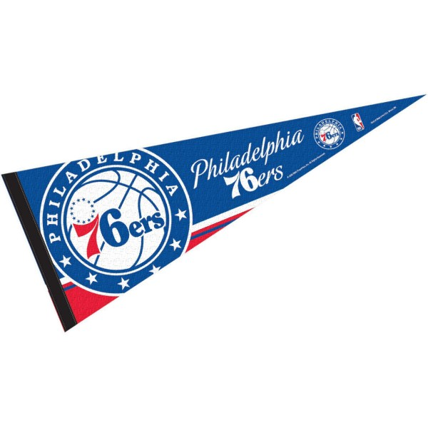 This Philadelphia 76ers Pennant measures 12x30 inches, is constructed of felt, and is single sided screen printed with the Philadelphia 76ers logo and insignia. Each Philadelphia 76ers Pennant is a NBA Officially Licensed product.