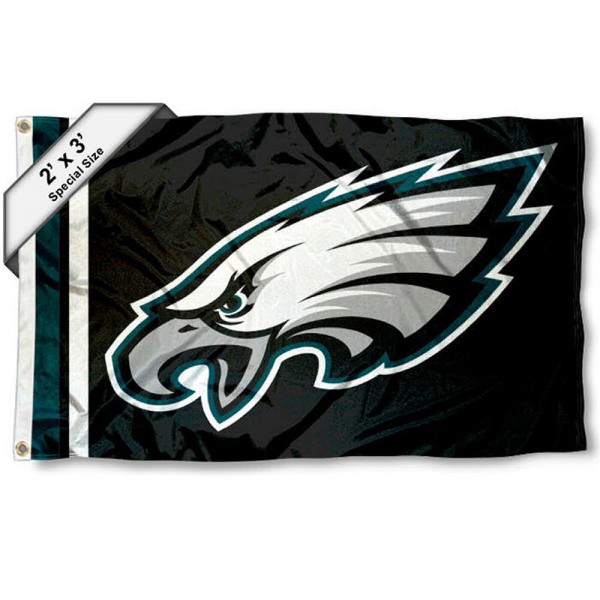 Philadelphia Eagles 2x3 Feet Flag measures 2'x3', is made polyester, has quadruple stitched flyends, two metal grommets, and offers screen printed NFL Philadelphia Eagles logos and insignias. Our Philadelphia Eagles 2x3 Foot Flag is NFL Officially Licensed and approved.