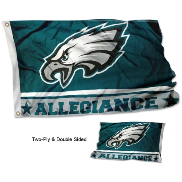 Philadelphia Eagles Allegiance Flag measures 3'x5', is made of 2-ply double sided polyester with liner, has quadruple stitched sewing, two metal grommets, and has two sided team logos. Our Philadelphia Eagles Allegiance Flag is officially licensed by the selected team and the NFL and is available with overnight express shipping.
