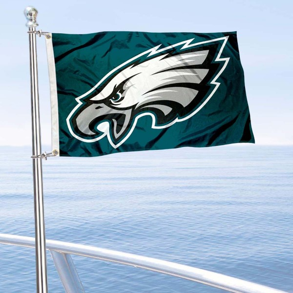 "Our Philadelphia Eagles Boat and Nautical Flag is 12""x18"", made of three-ply poly, has a solid header with two metal grommets, and is double sided. This Boat and Nautical Flag for Philadelphia Eagles is Officially Licensed by the NFL and can also be used as a motorcycle flag, boat flag, golf cart flag, or recreational flag."