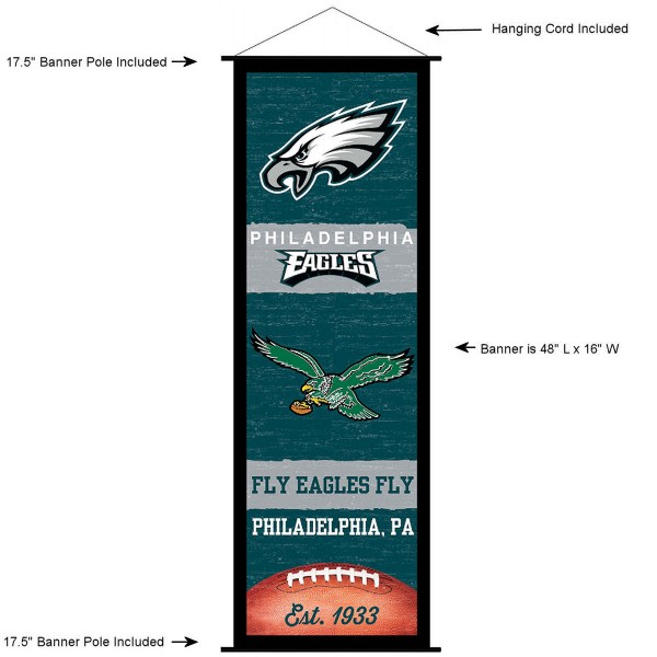 """This """"ready to hang"""" Philadelphia Eagles Decor and Banner is made of polyester material, measures a large 17.5"""" x 48"""", offers screen printed athletic logos, and includes both top and bottom 3/4"""" diameter plastic banner poles and hanging cord. Our Philadelphia Eagles D�cor and Banner is Officially Licensed by the selected team and NFL."""