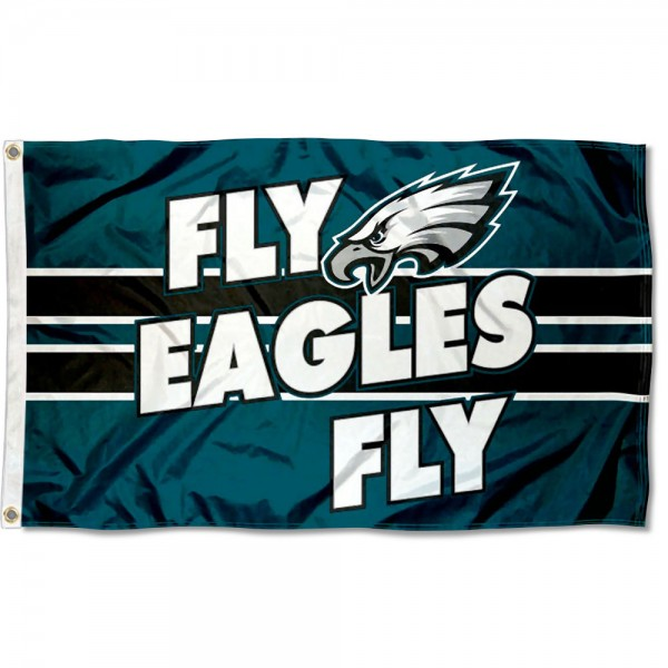 Our Philadelphia Eagles Fly Eagles Fly Flag is double sided, made of poly, 3'x5', has two metal grommets, indoor or outdoor, and four-stitched fly ends. These Philadelphia Eagles Fly Eagles Fly Flags are Officially Approved by the Philadelphia Eagles.