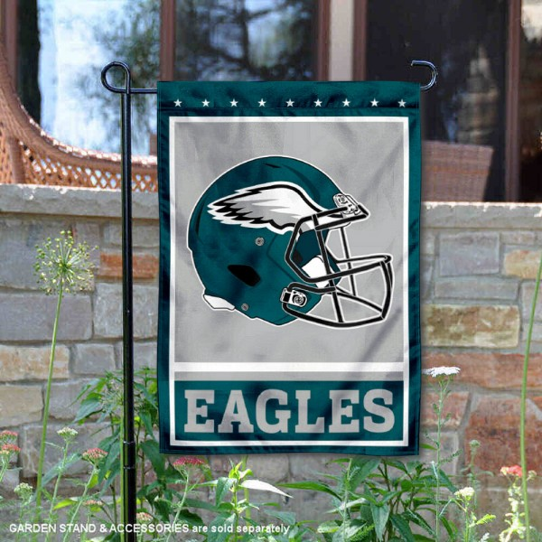 Philadelphia Eagles Football Garden Banner Flag is 12.5x18 inches in size, is made of 2-ply polyester, and has two sided screen printed logos and lettering. Available with Express Next Day Ship, our Philadelphia Eagles Football Garden Banner Flag is NFL Officially Licensed and is double sided.