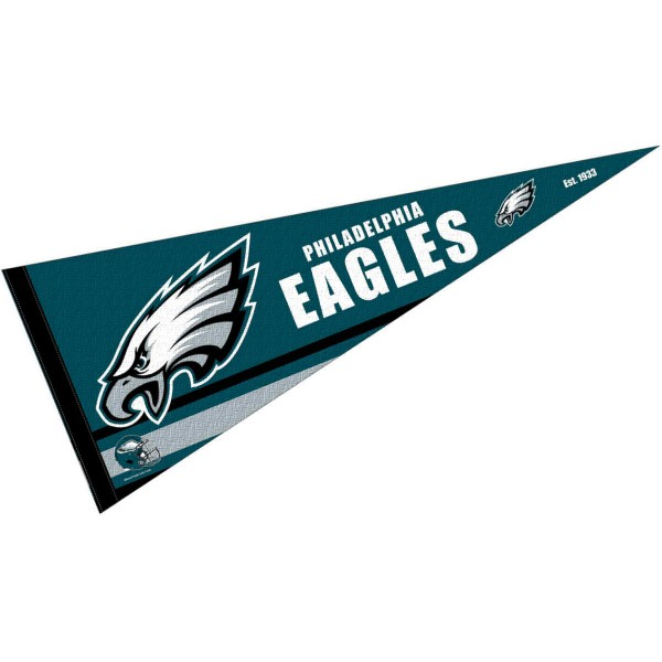 This Philadelphia Eagles Full Size Pennant is 12x30 inches, is made of premium felt blends, has a pennant stick sleeve, and the team logos are single sided screen printed. Our Philadelphia Eagles Full Size Pennant is NFL Officially Licensed.
