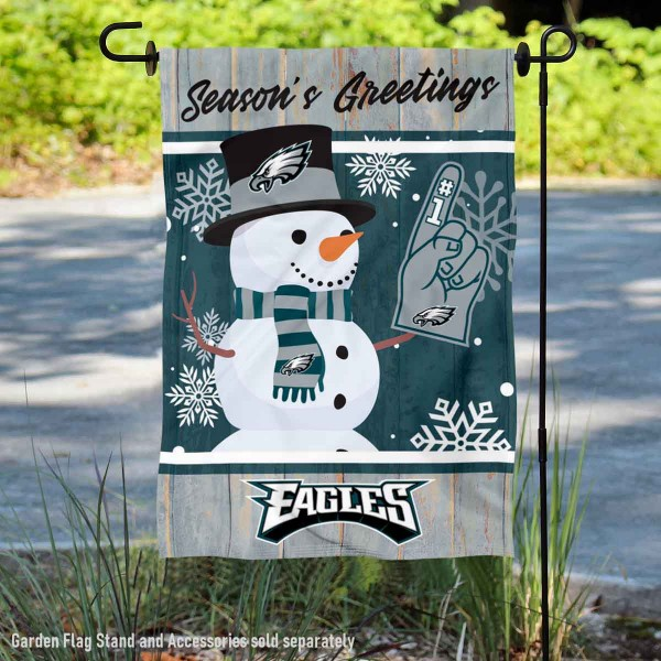 Philadelphia Eagles Holiday Winter Snow Double Sided Garden Flag is 12.5x18 inches in size, is made of 2-ply polyester, and has two sided screen printed logos and lettering. Available with Express Next Day Ship, our Philadelphia Eagles Holiday Winter Snow Double Sided Garden Flag is NFL Officially Licensed and is double sided.