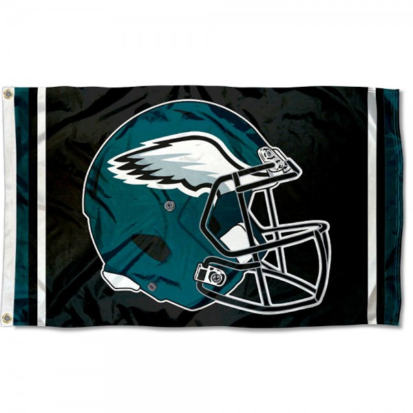Our Philadelphia Eagles New Helmet Flag is two sided, made of poly, 3'x5', Overnight Shipping, has two metal grommets, indoor or outdoor, and four-stitched fly ends. These Philadelphia Eagles New Helmet Flags are Officially Approved by the Philadelphia Eagles.