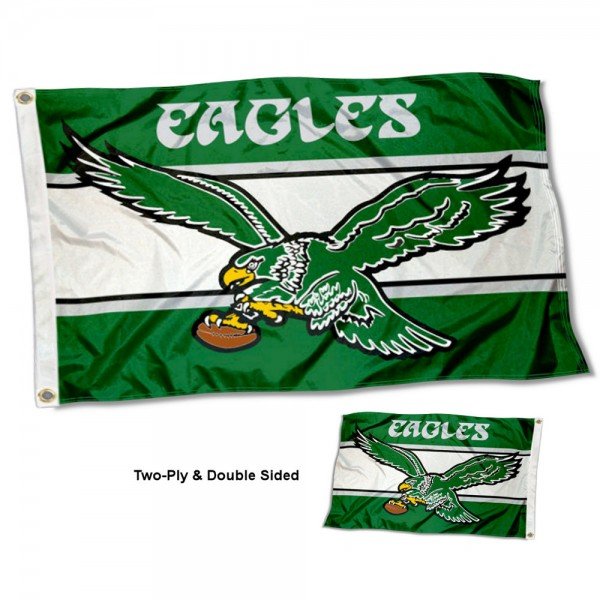 Philadelphia Eagles Retro Vintage Double Sided Flag measures 3'x5', is made of 2-ply double sided polyester with liner, has quadruple stitched sewing, two metal grommets, and has two sided team logos. Our Philadelphia Eagles Retro Vintage Double Sided Flag is officially licensed by the selected team and the NFL and is available with overnight express shipping.