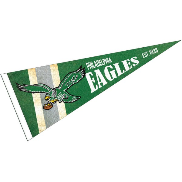 This Philadelphia Eagles Throwback Vintage Retro Pennant is 12x30 inches, is made of premium felt blends, has a pennant stick sleeve, and the team logos are single sided screen printed. Our Philadelphia Eagles Throwback Vintage Retro Pennant is NFL Officially Licensed.