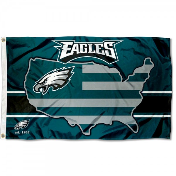 Our Philadelphia Eagles USA Country Flag is double sided, made of poly, 3'x5', has two metal grommets, indoor or outdoor, and four-stitched fly ends. These Philadelphia Eagles USA Country Flags are Officially Approved by the Philadelphia Eagles.