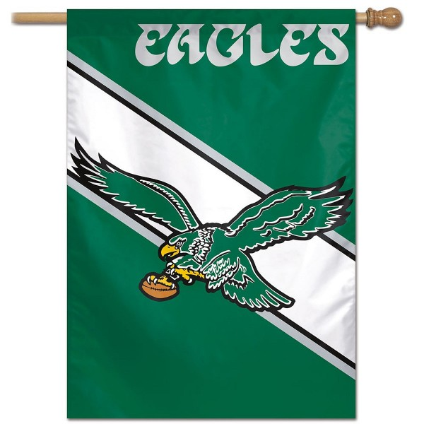 "These Vintage Logo House Flags for the Philadelphia Eagles are 28""x40"" in size, have current NFL Team Logo Designs, made of polyester, and Same Day Shipped with Overnight Express Delivery. This Philadelphia Eagles Vintage Logo House Flag provides a top pole sleeve and is NFL Officially Licensed."